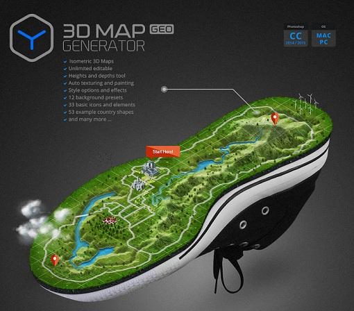 3D Map Generator - GEO Plug-in for Adobe Photoshop (Win Mac)