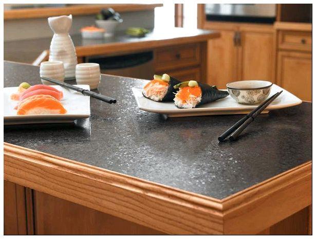 столешница, фото, горячей посудой, искусственного камня, кухонного острова, неоднородной окраской