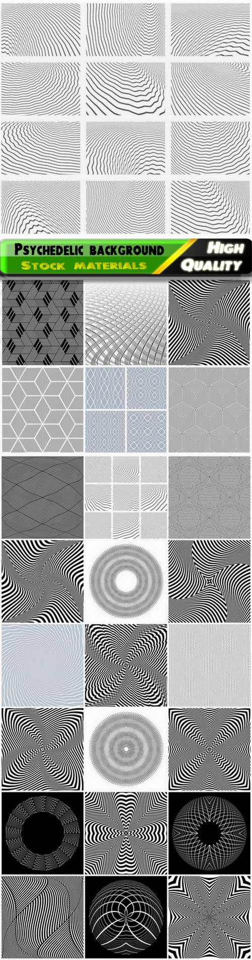 Abstract linear psychedelic background with optical illusion 25 Eps