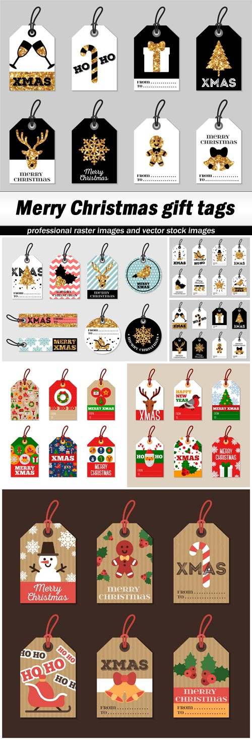Merry Christmas gift tags - 6 EPS