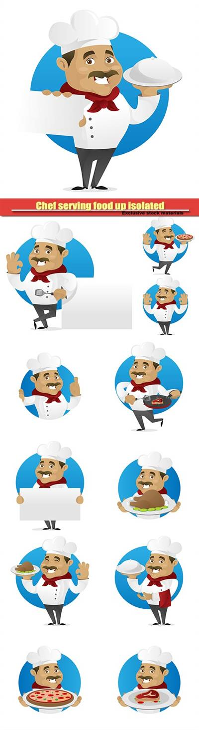 Chef serving food up isolated in white vector background