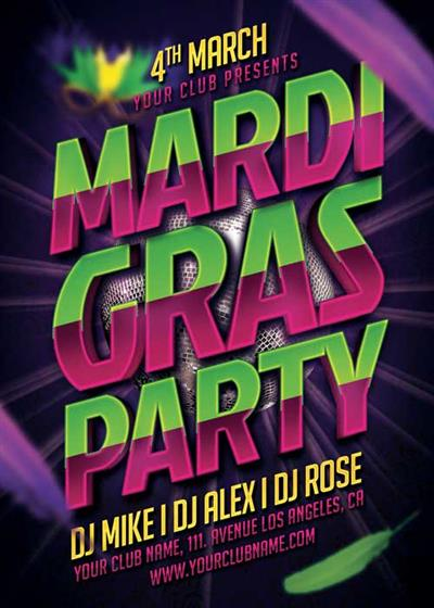 Mardi Gras Party Typo V35 Flyer Template
