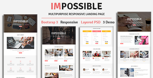ThemeForest - IMPOSSIBLE v1.0 - Multipurpose Responsive HTML Landing Page - 19647328