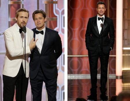 Брэд Питт и Райан Гослинг на «Золотом глобусе – 2016»; Брэд Питт на «Золотом глобусе – 2017»