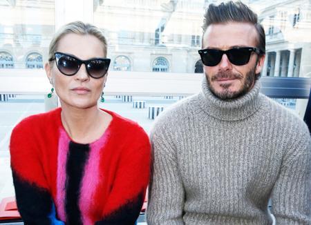 Дэвид Бекхэм и Кейт Мосс проговорили друг с другом весь показ Louis Vuitton