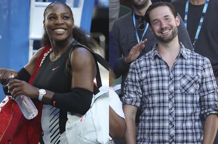 Серена Уильямс послала воздушный поцелуй своему жениху Алексису Оганяну во время матча Australian Open-2017