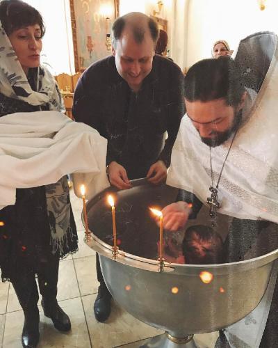 Сын Татьяны Васильевой окрестил маленькую дочку