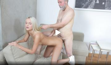 Joleyna Burst - Old man seduces blonde maid into serving his old dick (2017) HD 720p