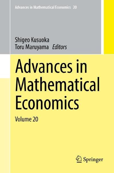 Advances in Mathematical Economics Volume 20